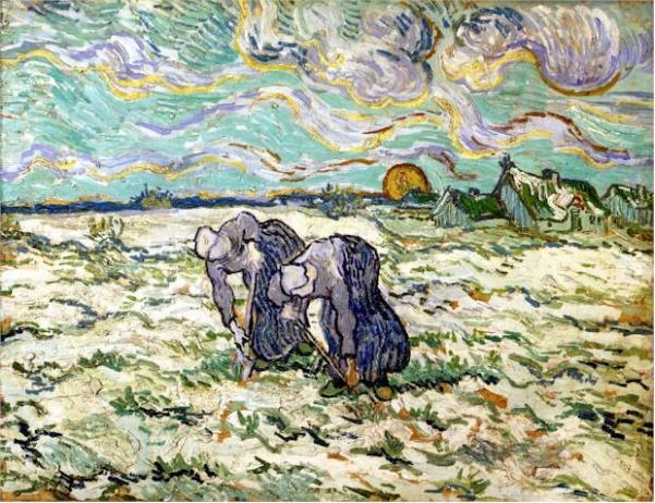 Van Gogh - 1890 Two Peasant Women Digging in Field with Snow